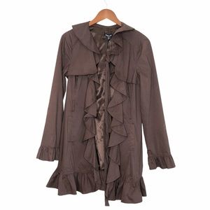 Bebe NWOT Brown Ruffle Front Belted Trench Coat